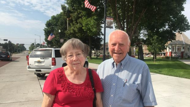 Carter and Linda, residents of Broken Bow, Nebraska, are happy with the performance to date of US president Donald Trump. Photograph: Suzanne lynch