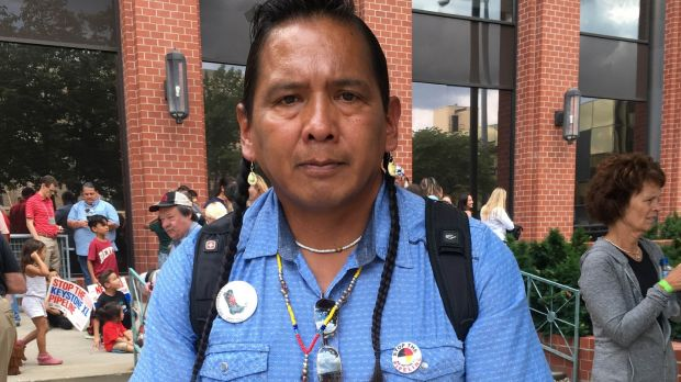 Gary Dore, a member of the Nez Perce Native American tribe from Idaho, outside the hearing in Lincoln into the construction of the Keystone oil pipeline through Nebraska. Photograph: Suzanne Lynch