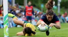 France's Chloe Pelle scores  against Australia in their Women's Rugby World Cup encounter. Photograph: Bryan Keane/Inpho