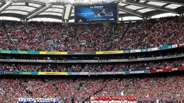 Croke Park stands for a minute's silence ahead of Waterford's win over Cork. Photograph: Ryan Byrne/Inpho