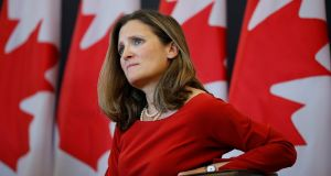 Canadian foreign minister Chrystia Freeland suggested earlier this week Canada could walk away if the US insisted on scrapping the mechanism to resolve trade disputes between the three Nafta countries. Photograph:  Chris Wattie