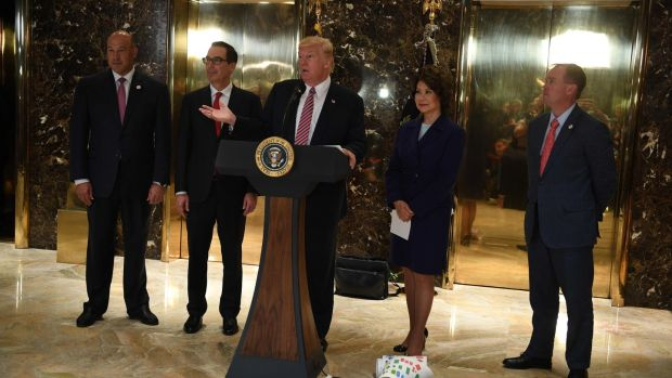 US president Donald Trump in the lobby at Trump Tower in New York on August 15th, 2017. Photograph: Jim Watson/AFP/Getty Images.