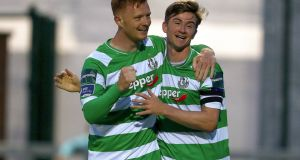 Ronan Finn celebrates scoring Shamrock Rovers' second with Gary Shaw. Photograph: Bryan Keane/Inpho