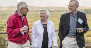 Stanley Fischer, vice chairman of the US Federal Reserve, left, Janet Yellen, chair of the US Federal Reserve, center, and William Dudley, president and chief executive of the Federal Reserve Bank of New York. Photograph: David Paul Morris/Bloomberg