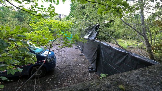 The scene of the search for the body of Trevor Deely in Chapelizod, Co Dublin. Photograph: Collins