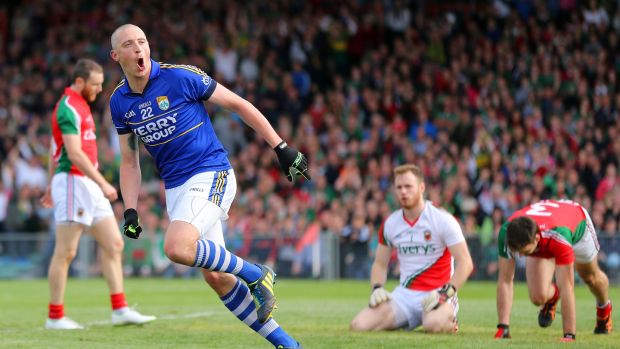 Kieran Donaghy celebrates scoring a goal against Mayo in the 2014 semi-final replay. Photograph: Cathal Noonan