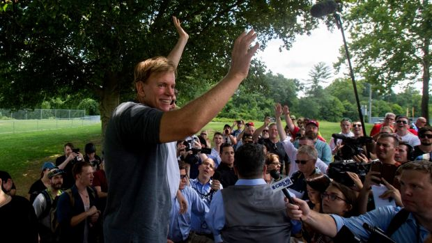 David Duke greets supporters a white nationalist rally in in Charlottesville last weekend. Photograph: Shaban Athuman /Richmond Times-Dispatch via AP