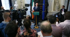 Minister for Foreign Affairs  Simon Coveney speaks to the media, at Iveagh House in Dublin, in response to Brexit proposals.  Photograph: Brian Lawless/PA Wire