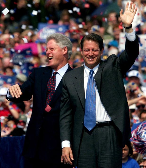 US president Bill Clinton and presidential candidate Al Gore at a campaign rally in Monroe, Michigan in August 2000. Photograph: Gina Ferazzi/Getty Images