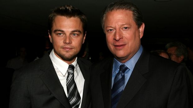Leonardo DiCaprio and Al Gore at the GQ magazine 2006 Men of the Year dinner in West Hollywood, California. Photograph: Kevin Winter/Getty Images