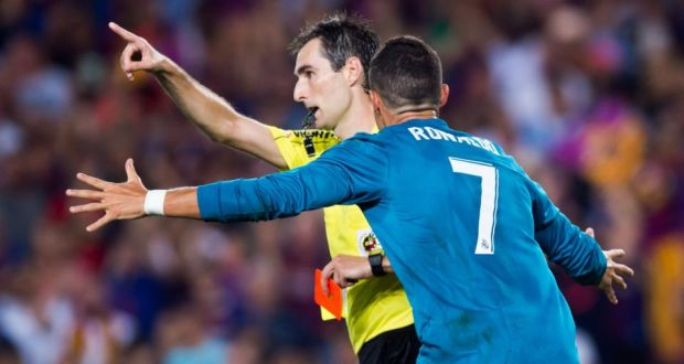 Real Madrid s Cristiano Ronaldo reacts as he is shown a red card during the  Supercopa final 0845e5262