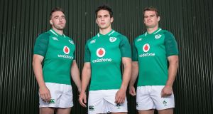 Ireland players Jack Conan, Joey Carbery and Rhys Ruddock. Canterbury, official kit supplier to the Ireland Rugby team, has unveiled the new Ireland Rugby jersey for the 2017/18 season. Photograph: Dan Sheridan/Inpho