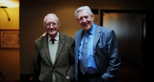 "Michael Twomey (right)  in 2012 with Frank Duggan with whom he played as characters Miah and Cha in ""Hall's Pictorial Weekly"". Photograph: Aidan Crawley"