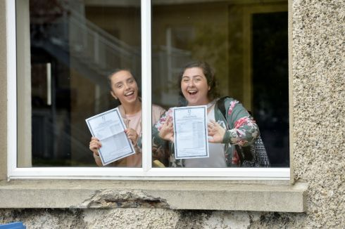 WINDOW OF OPPORTUNITY: Sara Downey and Rachel Fitzgerald celebrate their Leaving Cert results at Maryfield College, Whitehall, Dublin. Photograph: Alan Betson/The Irish Times