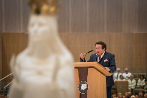 KNOCK NOVENA: Marty Morrissey speaks during the annual novena at Knock Shrine, Co Mayo. Photograph: Keith Heneghan/Phocus
