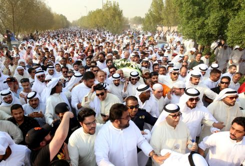 GULF FUNERAL: Mourners carry the coffin of Kuwaiti actor Abdulhussain Abdulredha during his funeral at the Jaafari cemetery in Kuwait City. Photograph: Yasser al-Zayyat/AFP/Getty Images