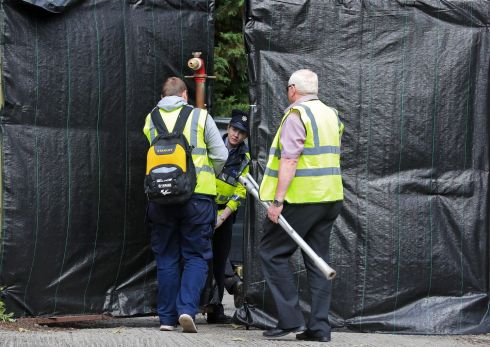 DEELY SEARCH: A view of the entrance to the site of the search for the body of Trevor Deely, in Dublin. Photograph: Colin Keegan/Collins Dublin