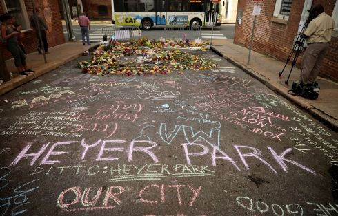CHARLOTTESVILLE CLASHES: A message calls for a park to be renamed after Heather Heyer, who was killed at a white supremacist rally in Charlottesville, US. Photograph: Chip Somodevilla/Getty Images