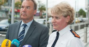 Det Supt Colm Fox and Chief Supt Lorraine Wheatley giving a press conference at Ballymun Garda Station  following the fatal shootings. Photograph: Dave Meehan