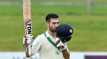 Ireland batsman Andrew Balbirnie celebrates reaching his double-century during day two of the Intercontinental Cup clash against the Netherlands at Malahide. Photograph:  Rowland White/Inpho/PressEye