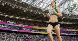Ireland's Siofra Cleirigh-Buttner finishes in sixth place in her heat of the Women's 800m at the World Championships in the London Stadium. Photograph: Morgan Treacy/Inpho