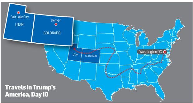 Trump casts a shadow for strangers on a Rockies train on ogden utah map usa, vernal utah map usa, kansas city kansas map usa,