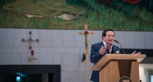 Marty Morrissey speaking at Knock. 'I am no Holy Joe. In fact, I am no Holy Marty.' Photograph: Keith Heneghan/Phocus