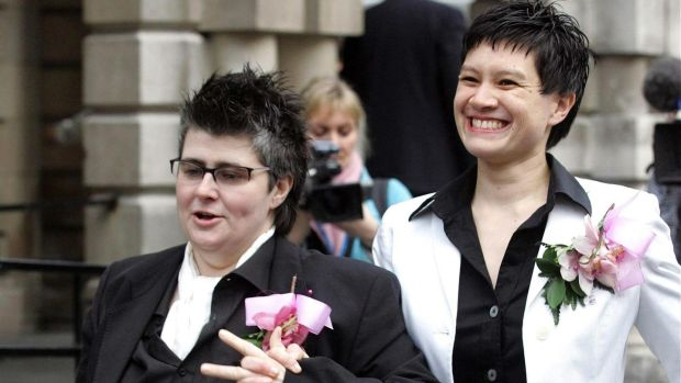 Shannon Sickles and Grainne Close outside Belfast City Hall after their civil partnership ceremony in 2005. File photograph: Paul Faith/PA Wire