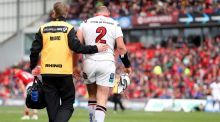 Ulster's Rory Best leaves the field for a HIA assessment during the Guinness Pro 12 game against Munster at  Thomond Park in April, 2017. Photograph: Tommy Dickson/Inpho
