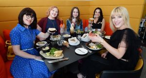 Drunch at the Marker Hotel in Dublin: Pearl Phelan, Gemma O'Leary, Amelia Eclectique (O'Mahony Brady), Mari Paduano and Amanda Eustace. Photograph: Cyril Byrne