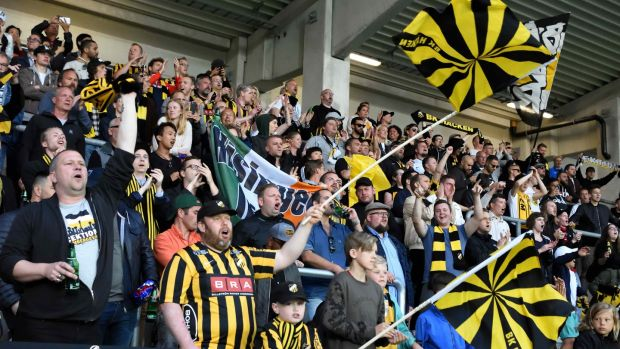 A section of the fans look on as BK Häcken defeat Hammarby 2-0 in Sweden.