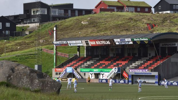 Action from a game in Tórshavn in the Faroe Islands. Standard-wise, he'd put Faroes football at the bottom of the quality league so far.