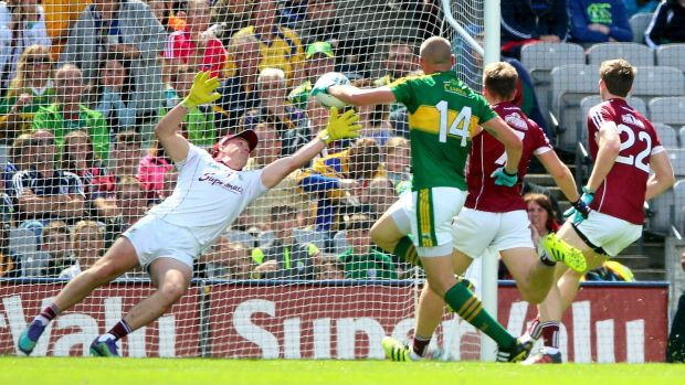 Kieran Donaghy scores a goal against Galway in this year's All-Ireland SFC quarter-final. Photograph: James Crombie/Inpho