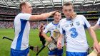 Waterford's Kevin Moran,  Mikey Kearney and Stephen Bennett celebrate after the semi-final victory over Cork. Photograph: Lorraine O'Sullivan/Inpho
