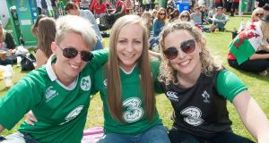 Clondalkin Rugby Club teammates Ciara Lennon, Sara Phelan and Brid Holohan at the fanzone in UCD today.Photograph: Dave Meehan/The Irish Times