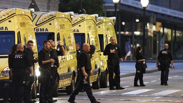 Medical personnel near the scene of Thursday's terrorist attack on Las Ramblas in Barcelona. Photograph: David Ramos/Getty Images
