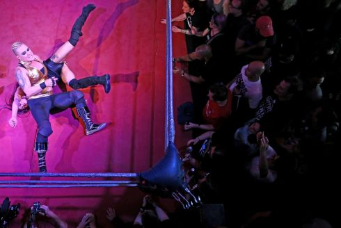 GLOW: Women wrestlers at an event in London. Photograph: Neil Hall/Reuters