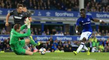 Everton's Idrissa Gueye scores his side's second goal  during the  Europa League playoff first leg against Hajduk Split  at Goodison Park. Photograph: Nigel French/PA Wire