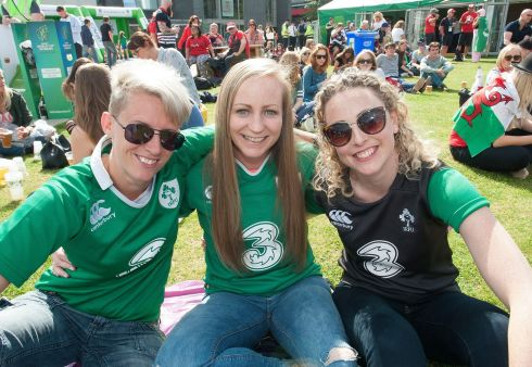 COYGIG: Clondalkin Rugby club team-mates Ciara Lennon, Sara Phelan and Brid Holohan at the fanzone in UCD today ahead of Ireland's clash with France. Photograph: Dave Meehan/The Irish Times