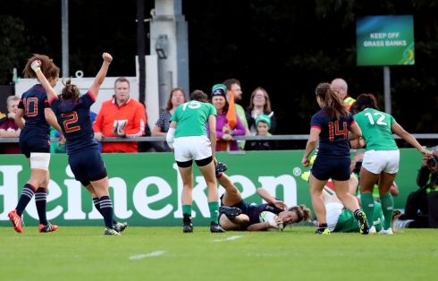 BREAKTHROUGH: France's Caroline Ladagnous scores a try during the 2017 Women's Rugby World Cup pool match against Ireland in Dublin. Photograph: Niall Carson/PA Wire