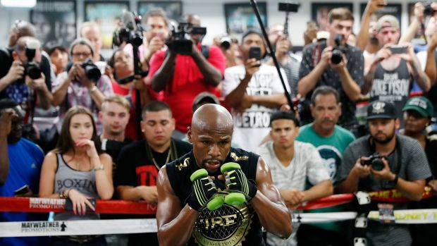 Floyd Mayweather will go 50-0 if he beats Conor McGregor on August 26th. Photograph: Isaac Brekken/Getty