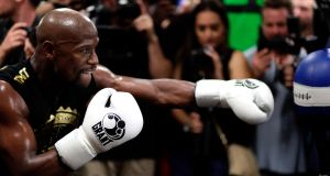 Floyd Mayweather Jr. has reiterated his fight with Conor McGregor will be his last. Photograph: John Gurzinski/AFP
