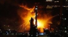 Eyewitness footage captures huge fire at Chinese oil refinery