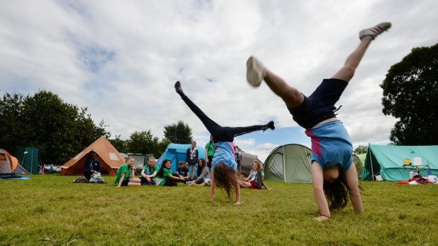 Anja Khan and Isabella Donohue from Bray, Co Wicklow, enjoying the activities. Photograph: Alan Betson