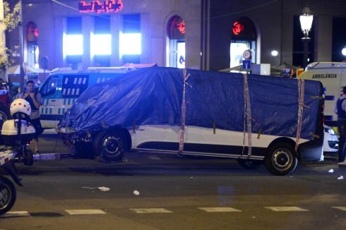 The that drove into the crowd is towed away from the Rambla in Barcelona on August 18, 2017. Photograph: Josep Lago/AFP/Getty Images