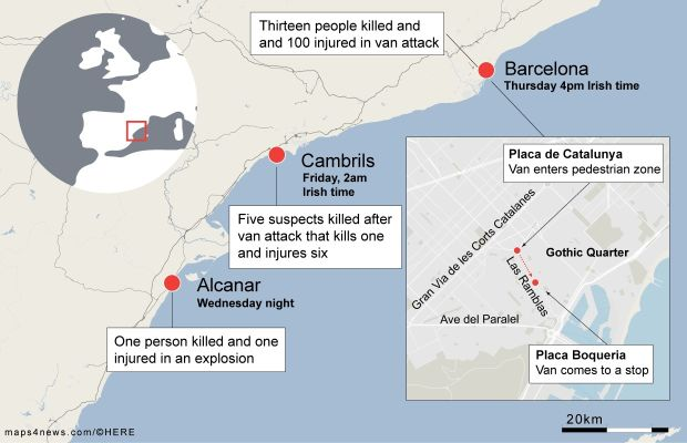 Spain Terror Attacks Driver Of Barcelona Van Shot In Cambrils
