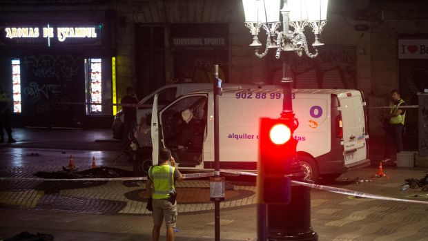 The van used in the attack at the Ramblas in Barcelona in which 13 people died. Photograph: EPA