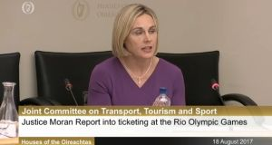 Olympic Council of Ireland president Sarah Keane. Image: Oireachtas screengrab.