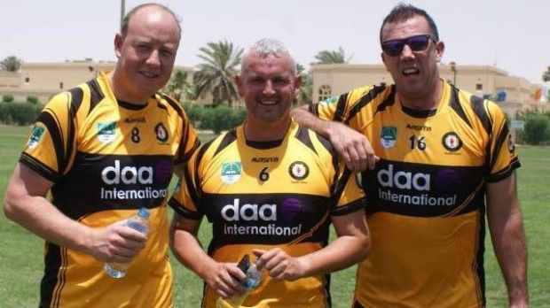 Oliver Carvell (Down), Owenie McBride (Donegal), Pearse McCarten (Down), lining out for the victorious Ulster team in the Railway Cup competition in Riyadh in May of this year.