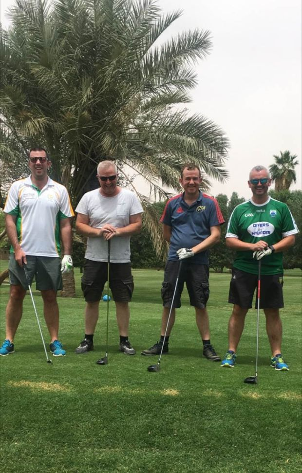 "Owenie McBride (far right) on the weekly Friday golf outing in Riyadh with Pearse McCarten, Ivan Counihan, and Shane ""Tiger"" O'Donovan"